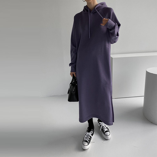 Gimo Hood Slit Long Dress - 기모안감