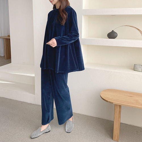[Set] Velvet Falre Blouse + Wide Pants