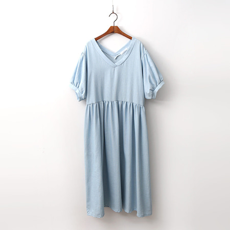 Puff Denim Long Dress