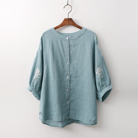Linen Broderie Button Blouse