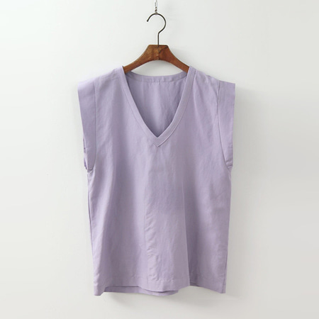 Linen V-Neck Blouse - 민소매