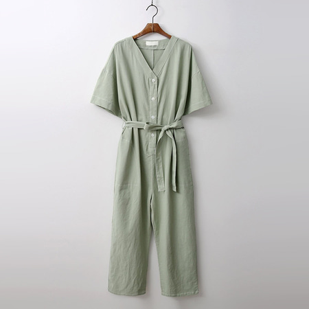 Linen Cotton Stitch Jumpsuit