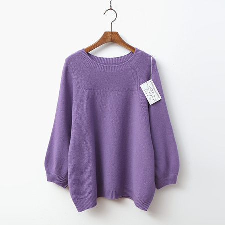 Hoega Cashmere N Wool Round Sweater - 9부소매