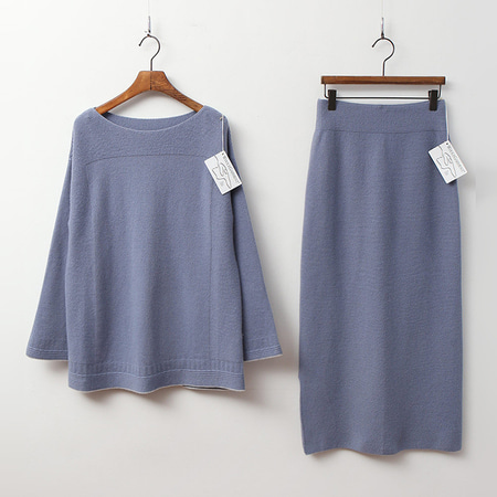 [SET] Laine Cashmere N Wool Lip Sweater + Long Skirt