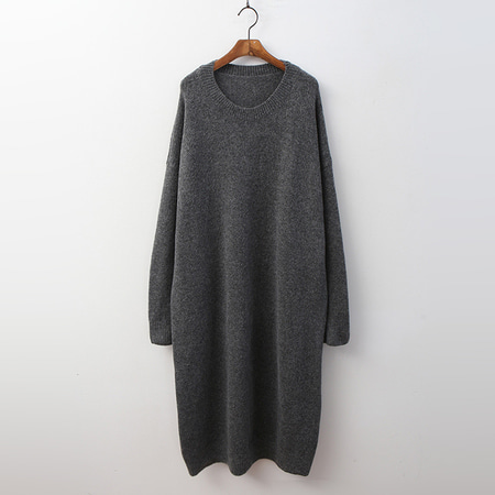 Wool Round Knit Long Dress