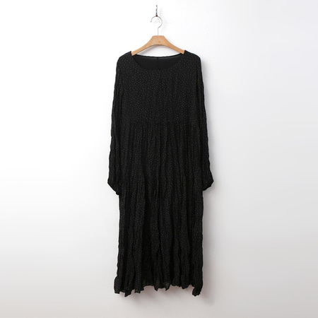 Dot Pleats Long Dress