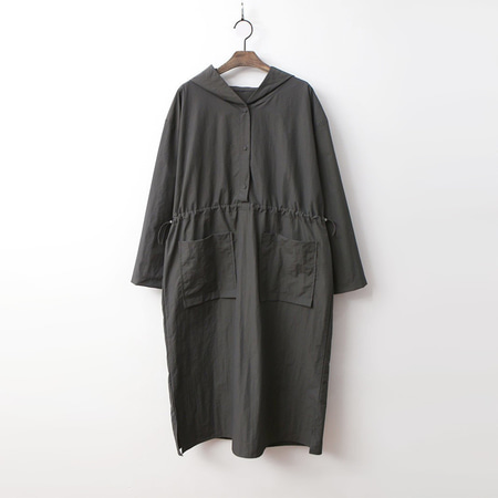 Hooded Pocket Long Dress