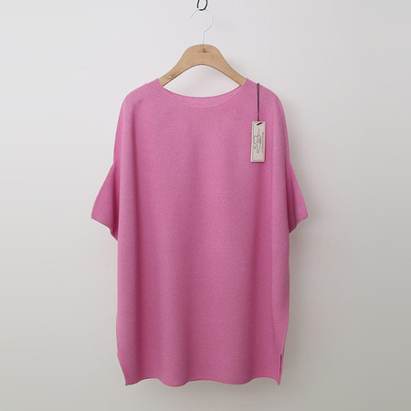 Maille Linen Rose Round Sweater - 반팔