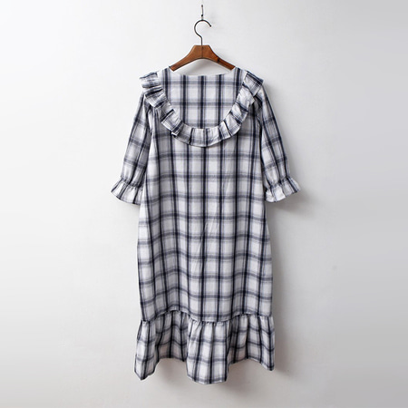 Linen Check Sleepwear Dress