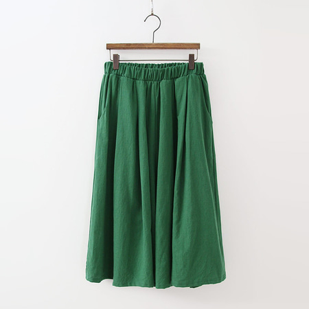 Linen Cotton Banding Wide Pants - 치마바지