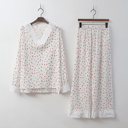 Lace Flower Pajama Set