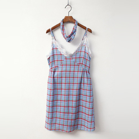 Check Cami Sleep Dress - 헤어밴드포함