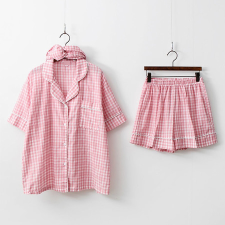 Hello Check Pajama Set - 헤어밴드포함