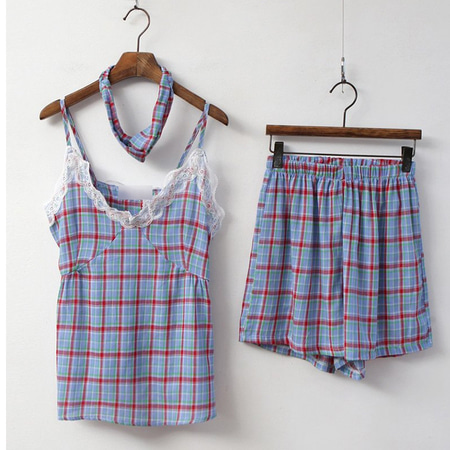 Check Cami Pajama Set - 헤어밴드포함