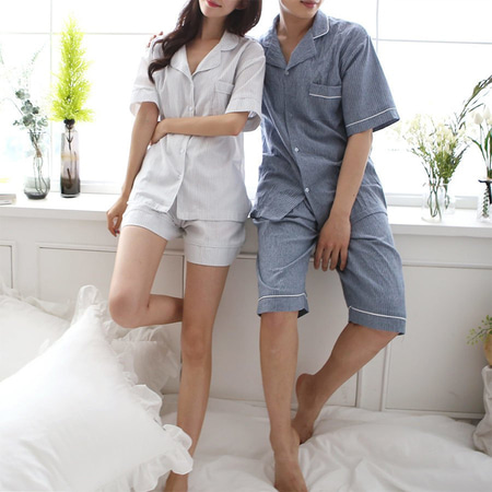Linen Stripe Pajama Set - 커플룩