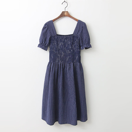 Linen Stripe Smocked Dress