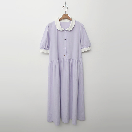 Linen Cotton Pearl Puff Long Dress