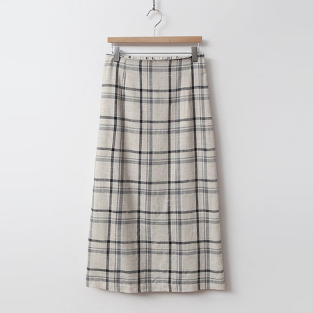 Linen Check H Long Skirt
