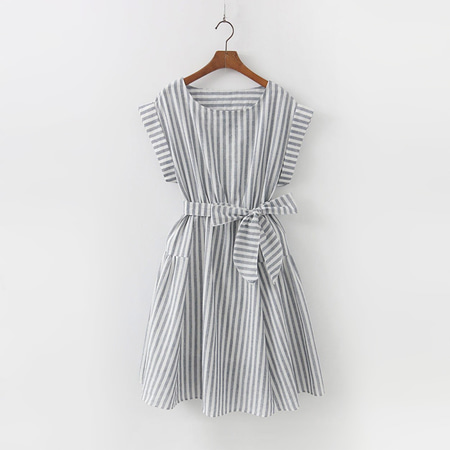 Linen Cotton Ribbon Stripe Dress