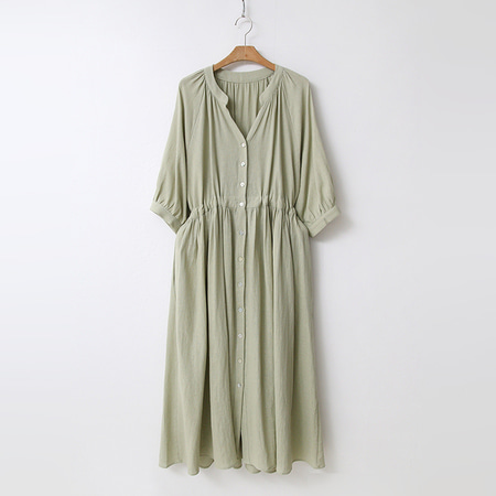 Linen Cotton Button Long Dress