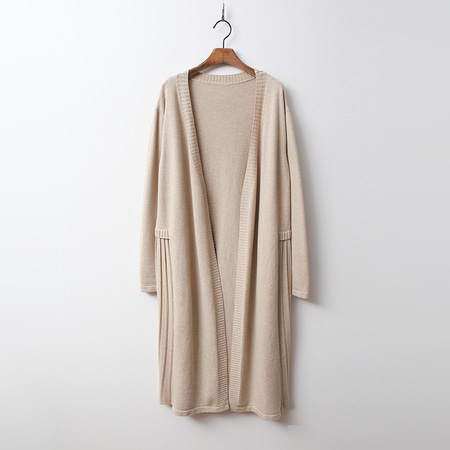 Pleated Long Knit Cardigan