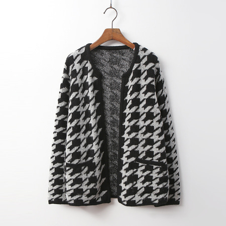 Hound Tooth Check Cardigan
