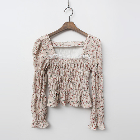 Flower Smoked Crop Blouse