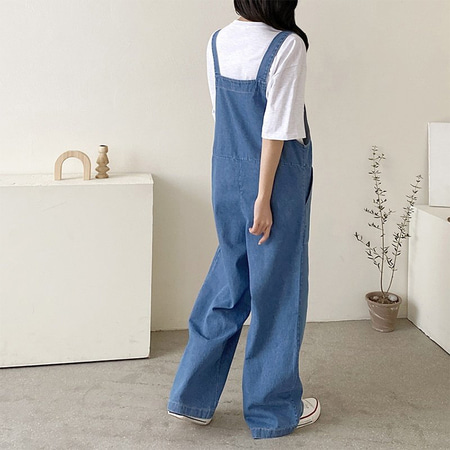 Leon Denim Wide Overalls