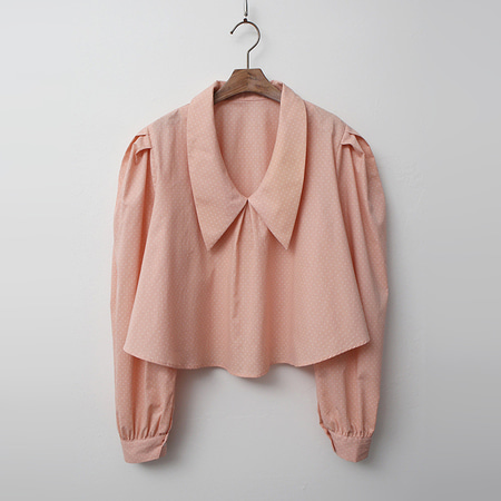V-Neck Collar Puff Crop Blouse
