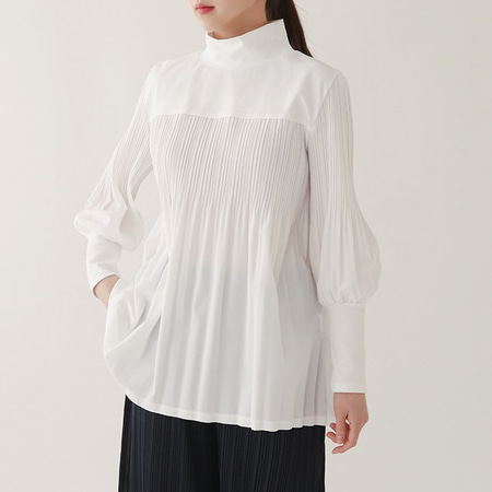 Pleats Neck Shirring Blouse
